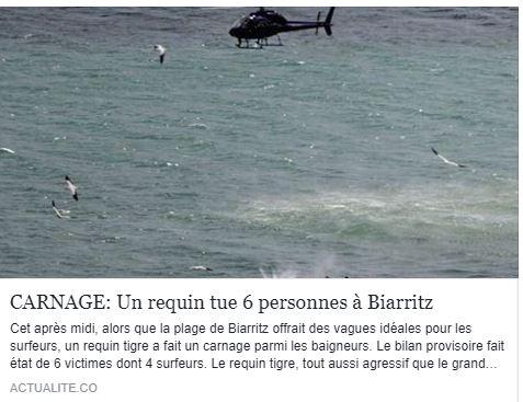Aucun requin a Biarritz a tue