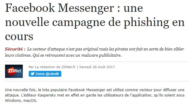 Facebook Messenger Attention Malware